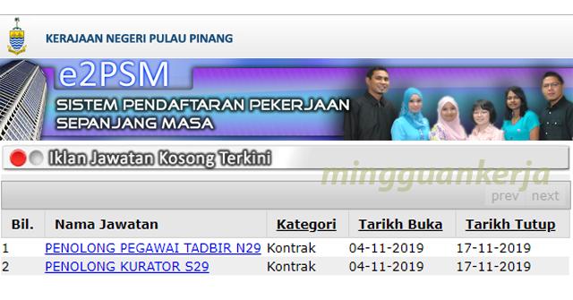 Jawatan Kosong Kerajaan Negeri Pulau Pinang ~ Penolong Peg. Tadbir N29 & Penolong Kurator S29