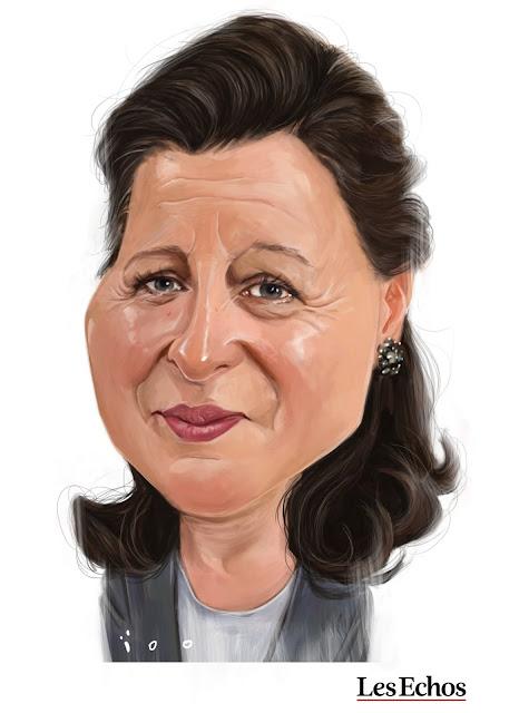Agnès Buzyn, caricature par ioo pour les Echos
