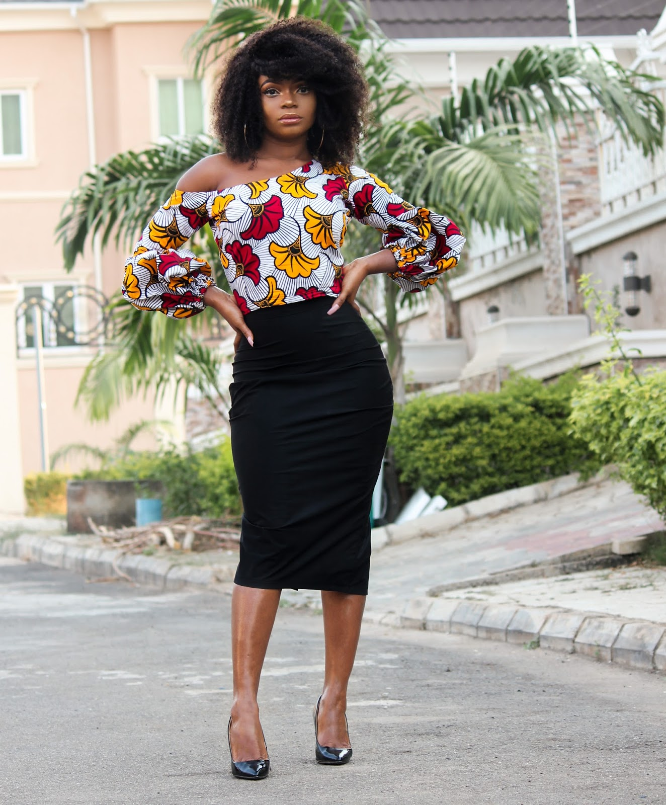ANKARA TOP + BLACK MIDI SKIRT - Ankara Skewed Neckline Top with Black Midi Skirt