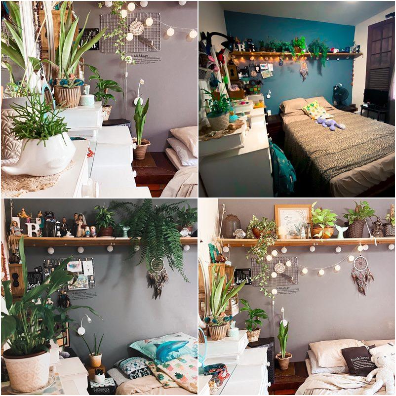 Decoração boho com plantas numa casa bem brasileira
