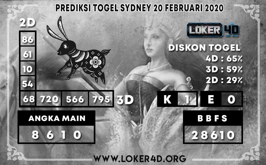 PREDIKSI TOGEL SYDNEY LOKER4D 20 FEBRUARI 2020