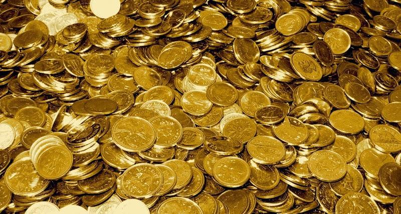 Haufen Goldmünzen