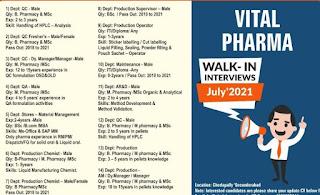 Vital Pharma Ltd Recruitment For ITI, Diploma, Graduates Candidates Walk in Interviews on July'2021 @ Hyderabad.