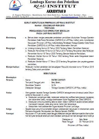 Contoh Surat Penugasan Operator Dapodik LKP/PKBM/SPS Terbaru