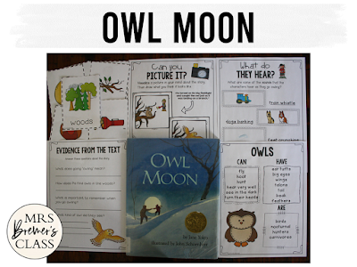 Owl Moon winter book study literacy unit with Common Core aligned companion activities for First and Second Grade