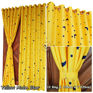 Gorden Pintu Rumah Motif Yellow Moon Star Model Smokring 12 Ring Ukuran Panjang Murah Elegan
