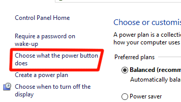 Choose what the power button does | windows 10
