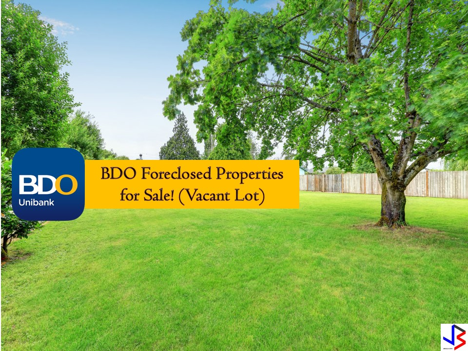 The following are the list of vacant lots for sale from BDO. If you are interested, you may directly contact BDO with the following information from their website.  Note: Jbsolis.com is not affiliated with BDO and this post is not a sponsored. All information below is for general purpose only. If you are interested in any of these properties, contact directly with the bank's branches in your area or in contact info listed in this post. Any transaction you entered towards the bank or any of its broker is at your own risk and account.