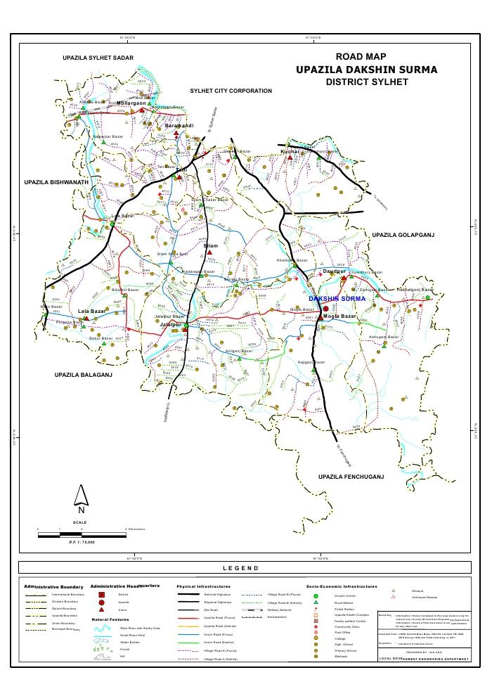 Dakshin Surma Upazila Road Map Sylhet District Bangladesh