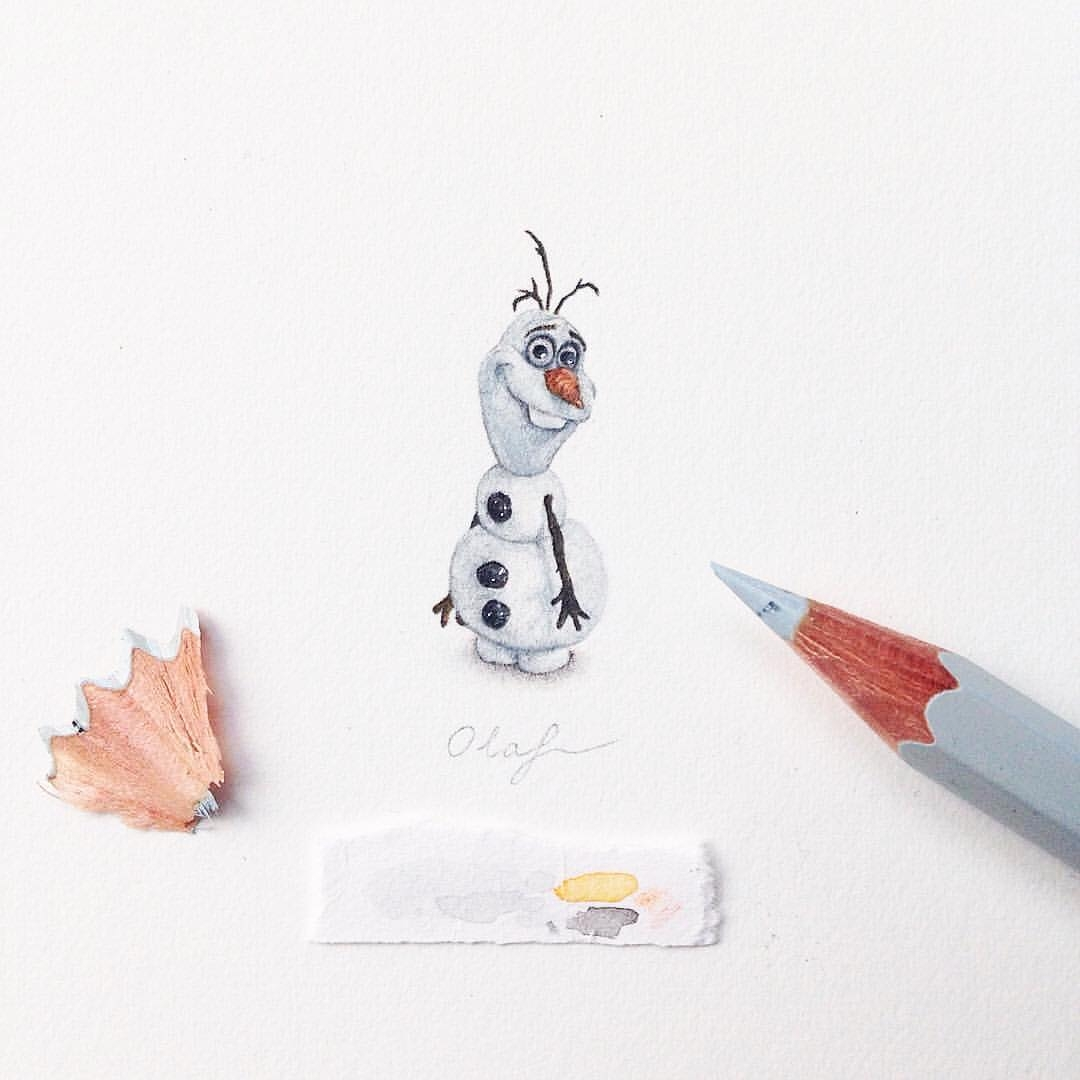 11-Tiny-Olaf-From-Disney-Frozen-Claudia-Maccechini-Miniature-Tiny-Drawings-www-designstack-co