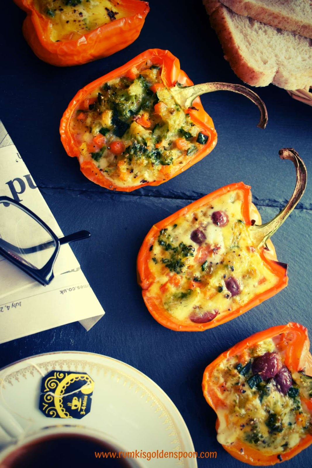 Stuffed Bell Peppers| Capsicum with Eggs & Veggies Without Cheese, Quick and Easy, Rumki's Golden Spoon, Barwa capsicum/ bell peppers, recipe with orange capsicum, bell peppers, baking recipe of vegetables, baking recipe of savoury items, healthy breakfast recipe, capsicum er pur, exotic egg recipes