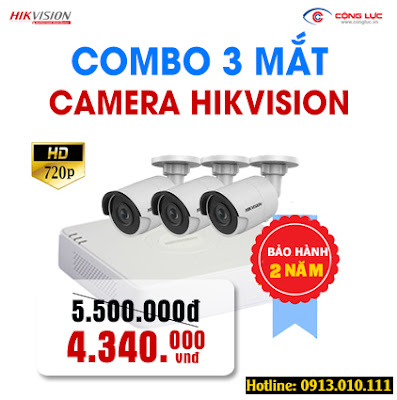 Trọn bộ 3 mắt Camera Hikvision 1.0 megapixel