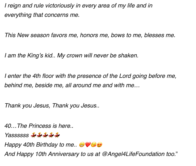 'I am the King's Daughter' – Nikki Laoye celebrates her 40th birthday sends message to those who tickle fancy of her Crown