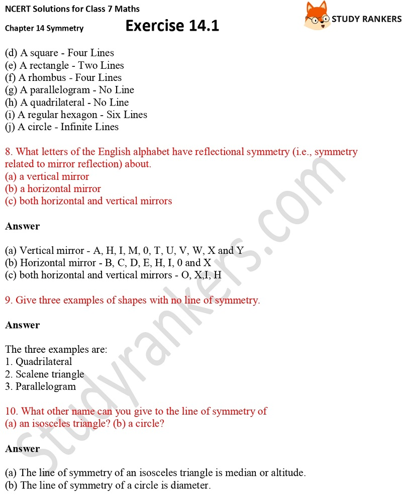 NCERT Solutions for Class 7 Maths Chapter 14 Symmetry Exercise 14.1 Part 8