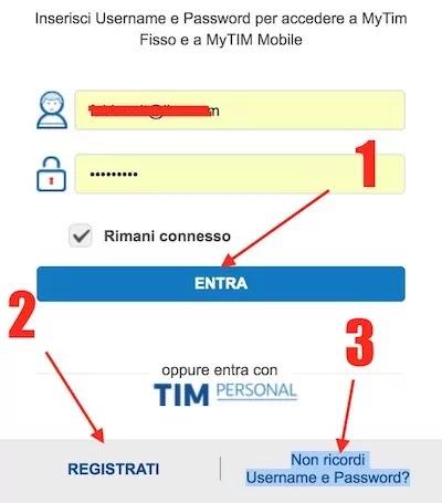 schermata login area clienti sito tim e opzioni per il recupero o la registrazione