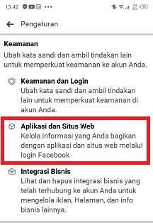 cara melihat aplikasi yang terhubung dengan facebook lite