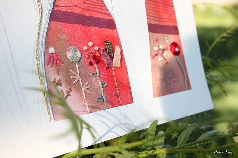 Bordado sobre ilustración de Ana Santos