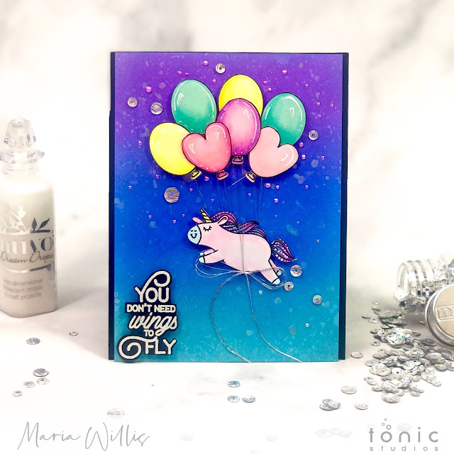 maria willis, #cardbomb, #tonicstudios, #tonicstudiosusa, #tonicstudiosspringdreams, #cards, #handmade, #color, #art, #unicorn, #stamp, #ink, #paper, #cardmaking, #cardmaker, #mixedmedia, #nuvo,