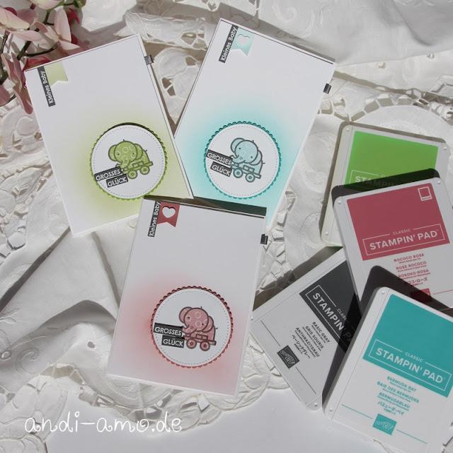 Babykarten in drei Farben Stampin Up Verspieltes zur Geburt