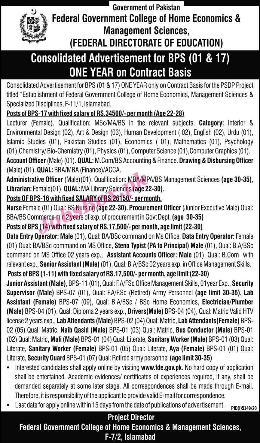 Federal Directorate of Education FDE Jobs 2021