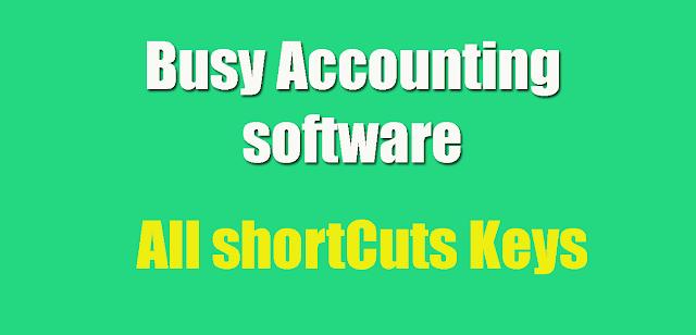 Busy accounting software shortcut keys
