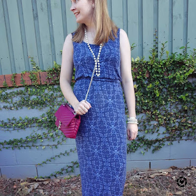 awayfromblue Instagram | blue printed maxi dress with magenta pink crossbody edie bag and pearl necklace bracelet stack spring playdate outfit