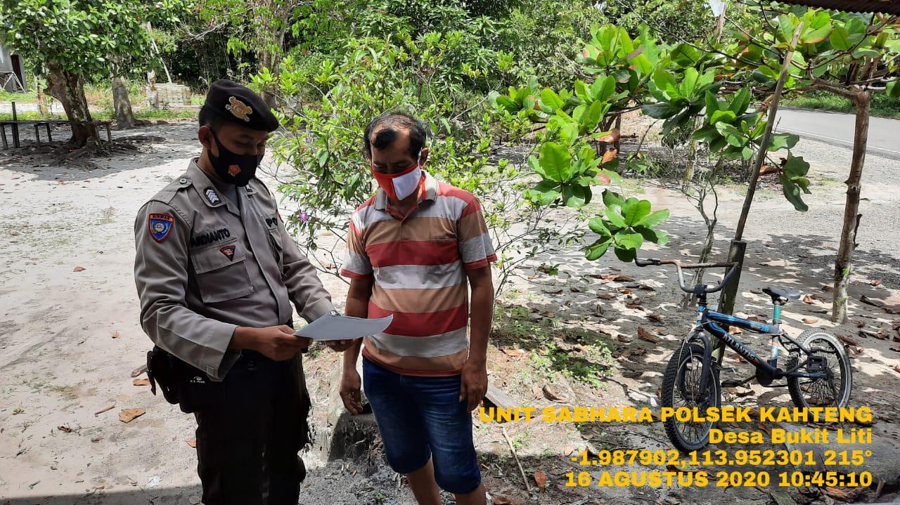 Kanit Sabhara Polsek Kahayan Tengah Lakukan Patroli Imbauan
