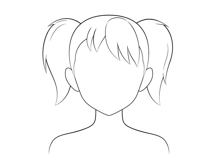 Gambar garis rambut kuncir anime