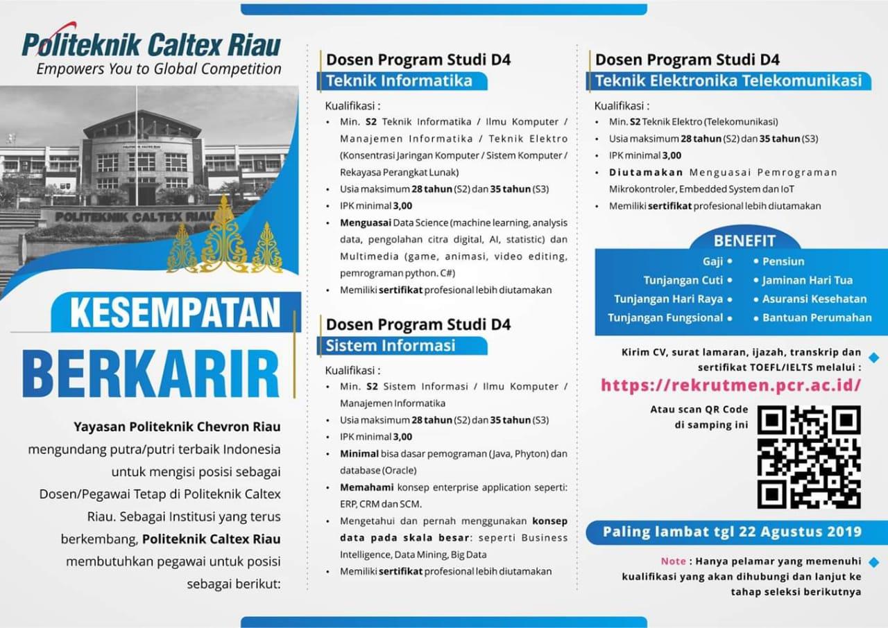 Lowongan Dosen Pegawai Tetap Politeknik Caltex Riau Lowongan Kerja Dan Rekrutmen Bulan Mei 2021