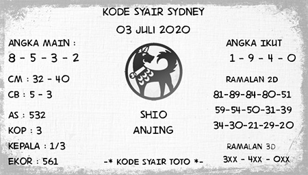 Prediksi Kode Syair Sydney SDY Jumat 03 Juli 2020