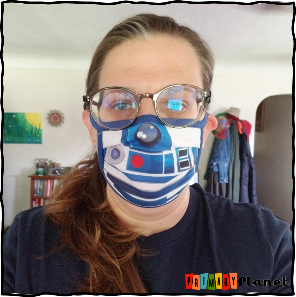 Image of me wearing a Disney Star Wars R2D2 Mask