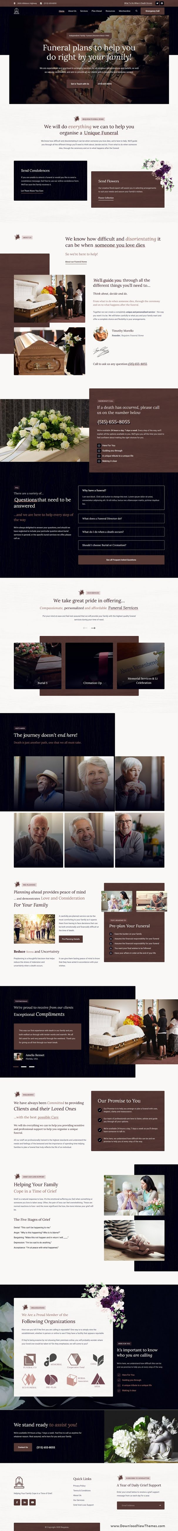 Funeral Home Services Website Theme