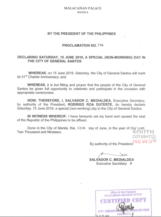 Palace declares June 15 special non-working holiday in General Santos City