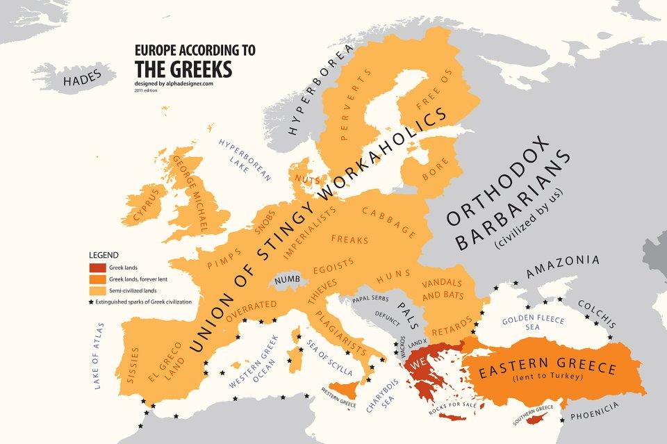 Carte De Leurope Grece.Anyhow Carte De L Europe Vue Par Les Grecs
