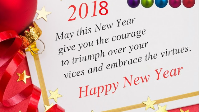 happy new year 2018 greeting card with quote