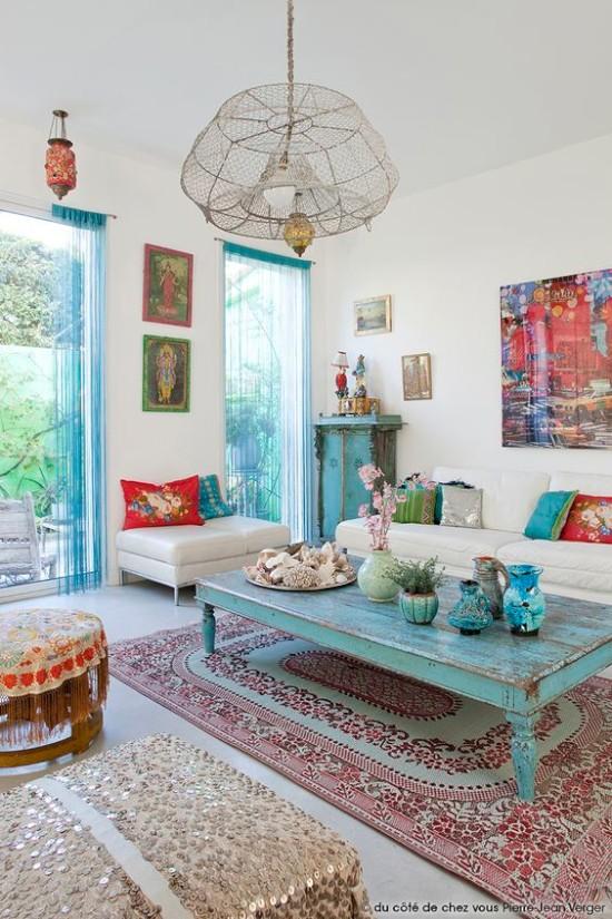 28 desain inspiratif  interior rumah dengan kombinasi warna biru tosca