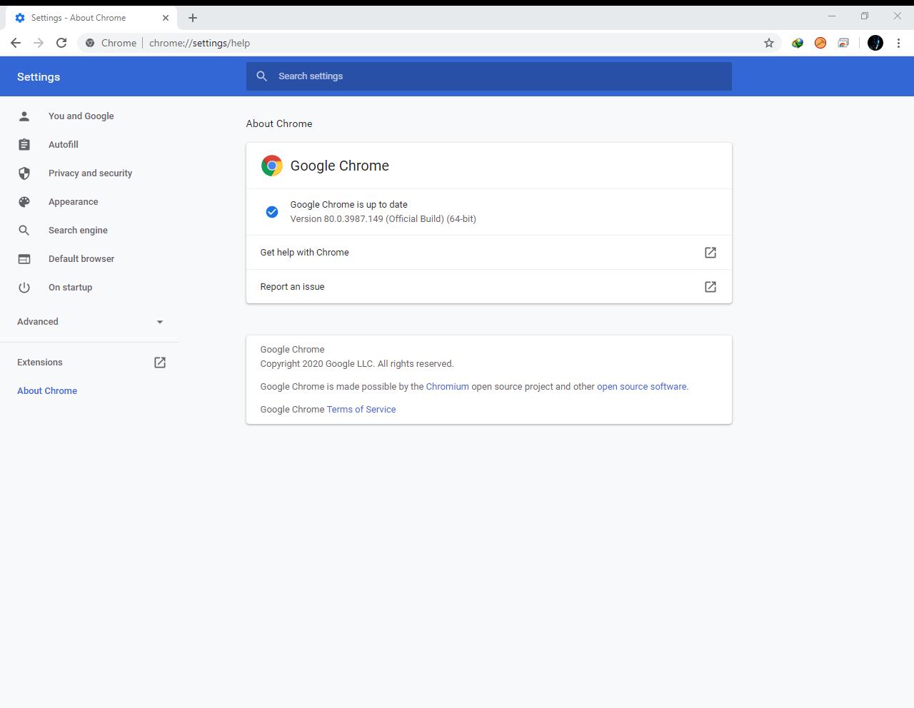 Google Chrome Browser 80.0.3987.149