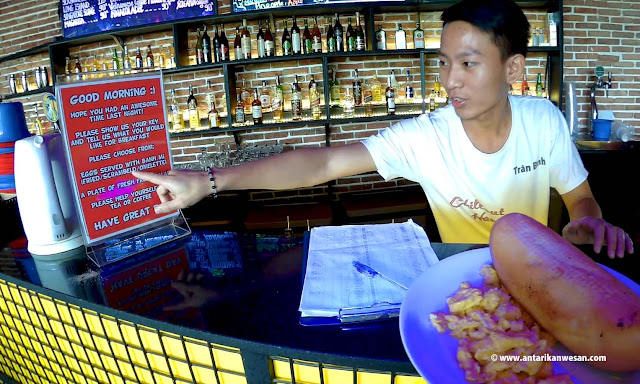 Breakfast options at the rooftop bar, The Hideout, Ho Chi Minh City