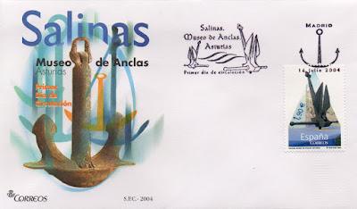 Sobre Primer Día de Circulación del sello dedicado al Museo de las Anclas de Salinas en 2004. Matasellos Primer Día de Madrid