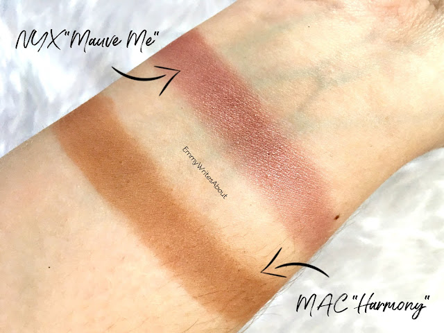NYX Mauve Me Swatch, MAC Harmony swatch