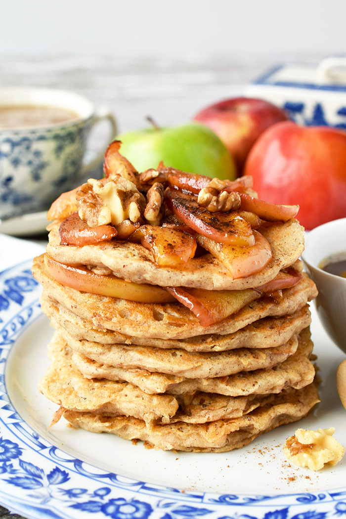 Easy Vegan Apple Pancakes With Buttery Apple Topping (Recipe)