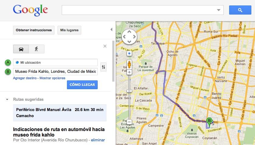 esto es google obt n direcciones en google maps