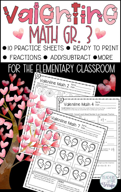 Math worksheets for Valentine's Day. This set designed for third grade features fun facts about candy on each page! #elementary #math #3rdgrade