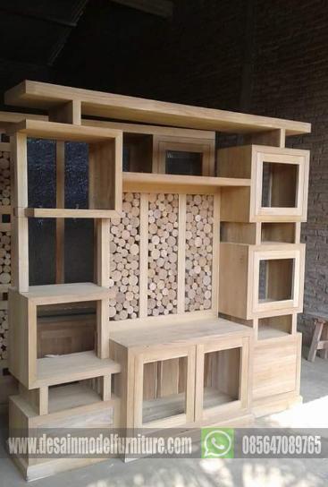 Bufet partisi minimalis kayu jati ukuran 2 meter