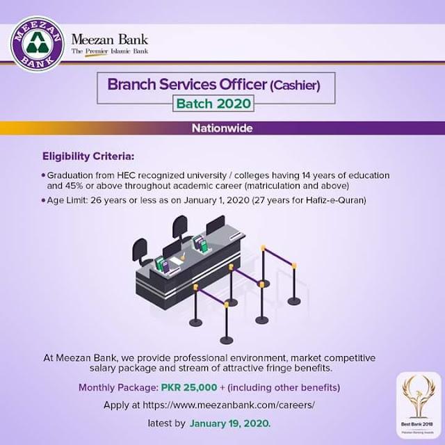 Meezan Bank Jobs (Cashiers) 2020 For Fresh Candidates