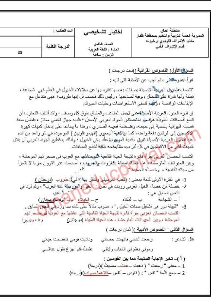 اختبار تشخيصي في اللغة العربية للصف الثامن