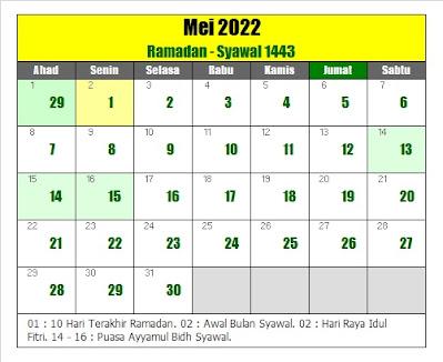 kalender islam hijriyah mei 2022 masehi - kanalmu