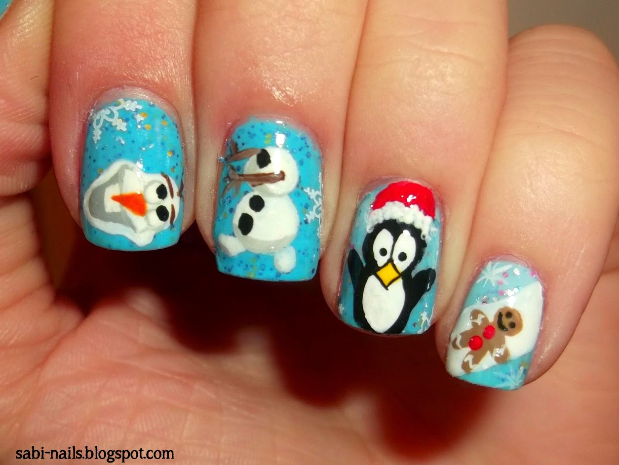 Sabi-nails: Zimowe paznokcie (Olaf the snowman, pingwin ...