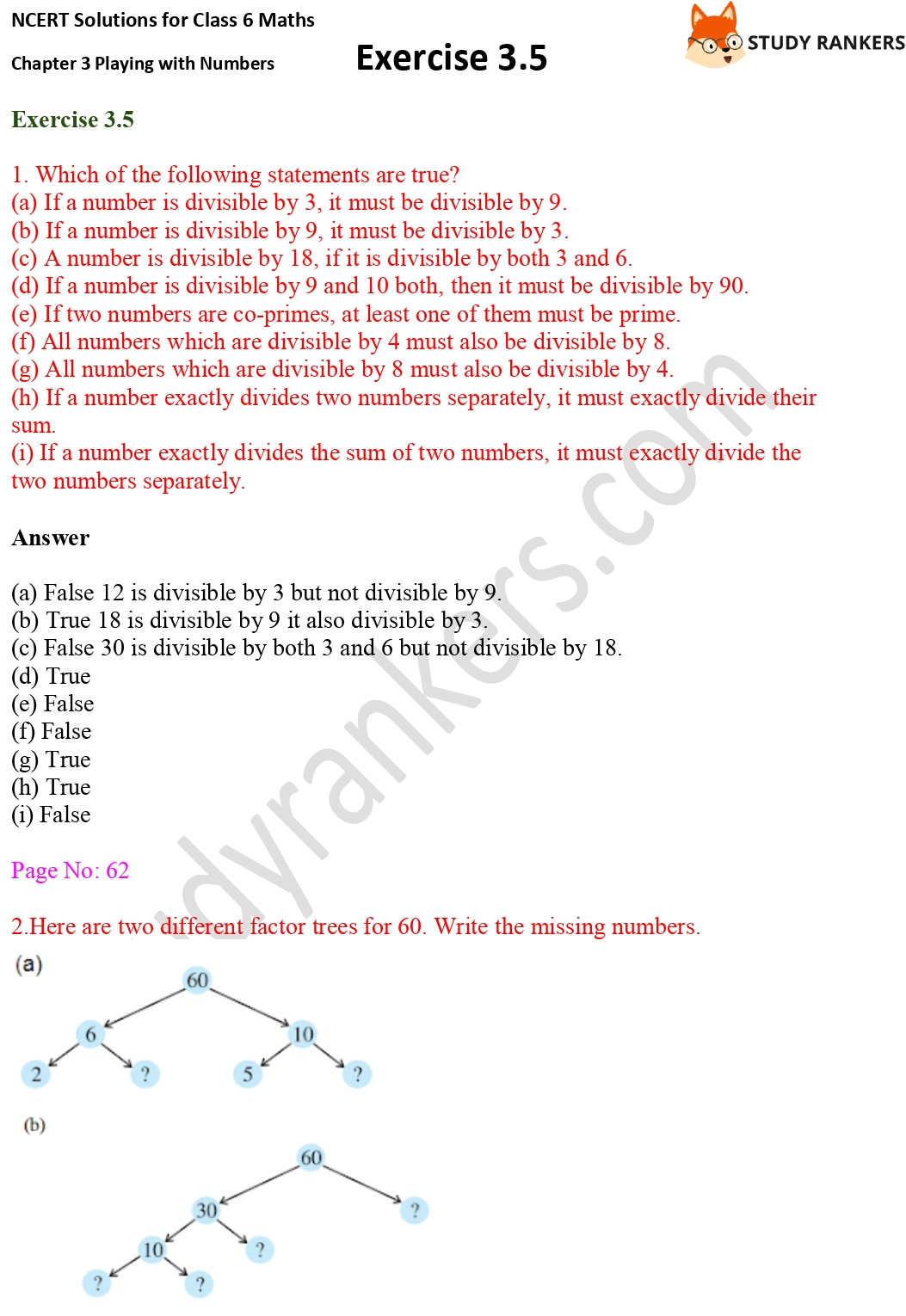 NCERT Solutions for Class 6 Maths Chapter 3 Playing with Numbers Exercise 3.5 Part 1