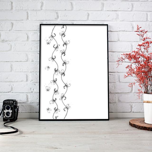 Arabesque Floral Ink Art